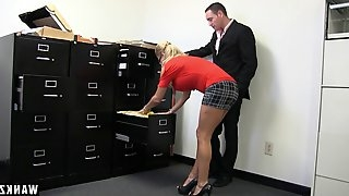 She dressed sexy for work and gets fucked hard by her boss