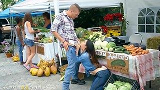 Horny cock starved Eva Lovia gets man meat in the farm market