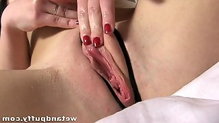 Beauty with her soft mouth licks big sex toy