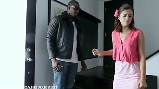 Pretty hot teen Izzy Bell gets intimate with one hot blooded black dude
