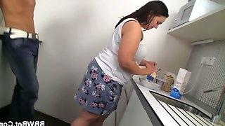 Fat girlfriend slammed on the kitchen