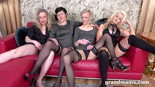 Nasty score sex ribbon with four mature babes who love cum