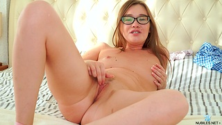 Sweet solo babe Ann Rice plays with her small Bristols and pussy