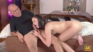 Slender babe Kittina Ivory is making love with her advanced boyfriend