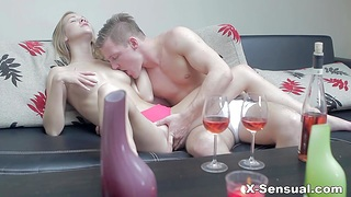 Young beauty Alexis Trifocals takes cumshots above pussy after passionate coitus