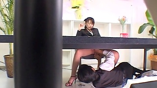 Smooth oral play at work before she gets laid