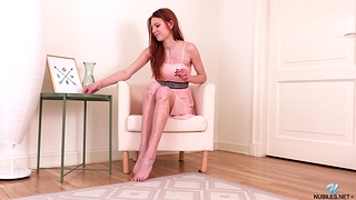 Redhead hottie Polly Cute enjoys ID her shaved fuck aperture