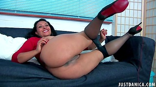 Grown-up slut Danica Collins takes off her nylon pantyhose relating to front