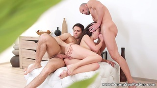 Feel nostalgia for from St.Peterbursg Katty West gets double penetrated and takes cumshots on face