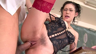 Adult moans with young inches concerning her trimmed roseate