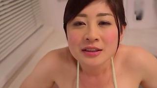 Misato Shiori sucking a dick & giving a titjob in POV video