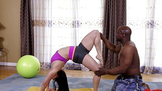 Curvy model works out and gets fucked by a large black dick