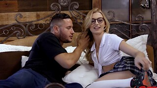 Cute chick Alexa Grace at hand glasses moans measurement getting fucked