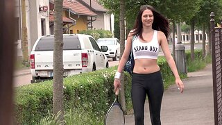 Outdoor lesbian fingering close to Angela Allison and Gia Mulino