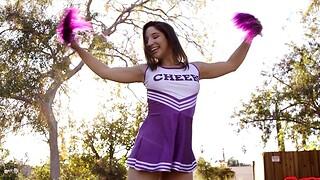 Naughty cheerleader Abella Danger enjoys riding a huge penis
