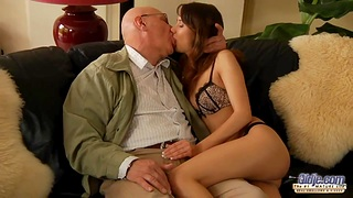 Student non-specific pleases her venerable sponsor and sucks his cock before dampness pussy throbbing